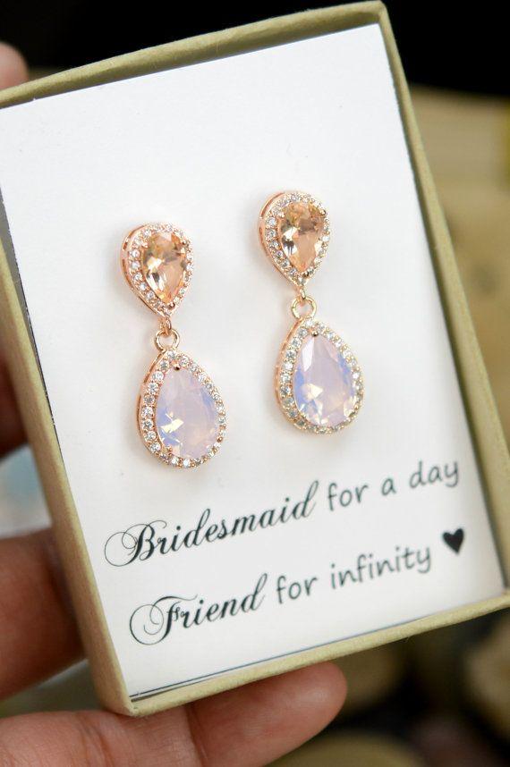 Blush Champagne Earrings Peach Pink rose gold Earring Teardrop peach silver earrings Bridesmaid Earrings Wedding Earrings Bridesmaid Jewelry