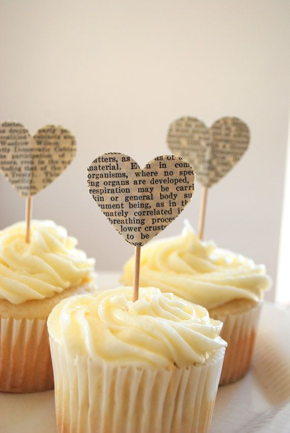 Vintage Book Page Heart Cupcake Picks by thePathLessTraveled