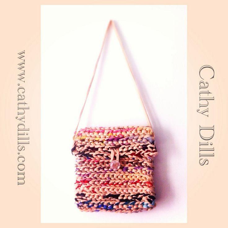 """Trapillo & tulle crochet handbag"" by Cathy Dills."