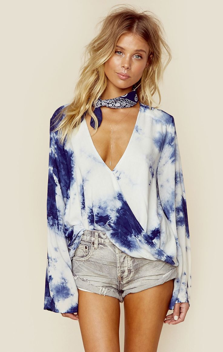 Sexy bell sleeve modern hippie indigo tie dyed shirt for a cool boho chic allure. For the BEST Bohemian fashion FOLLOW https://www.pinterest.com/happygolicky/the-best-boho-chic-fashion-bohemian-jewelry-gypsy-/ now.