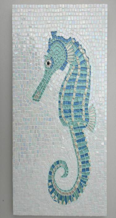 Seahorse tile mosaic.