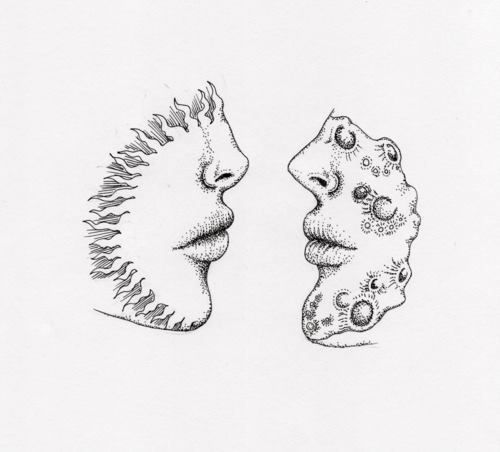 Sun Lips And Moon Meet Together Drawings