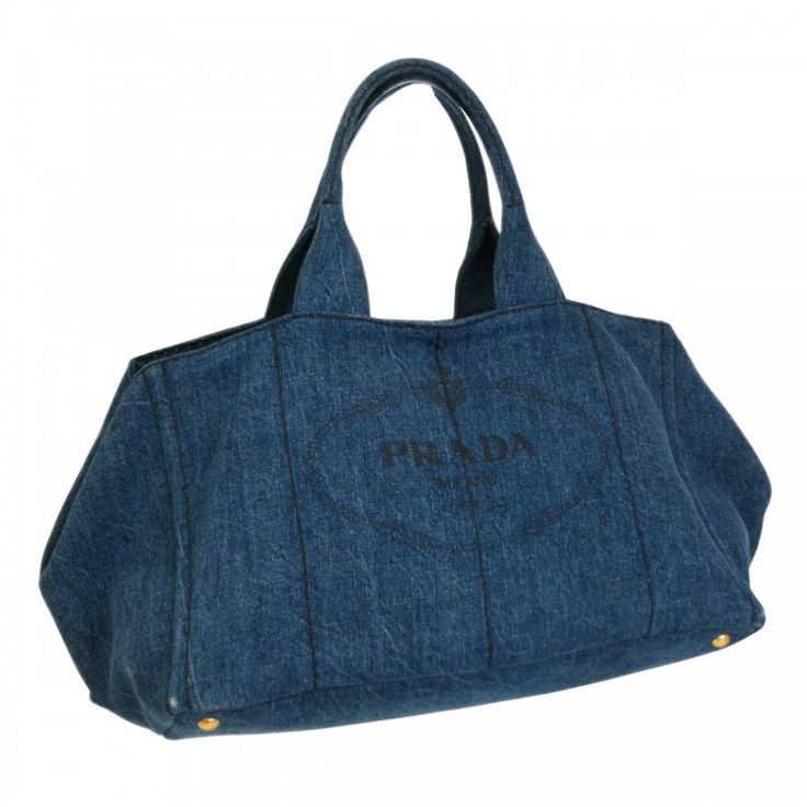 This Authentic Prada Tote Crafted From Blue Denim Canapa The Bag Opens To A Matching