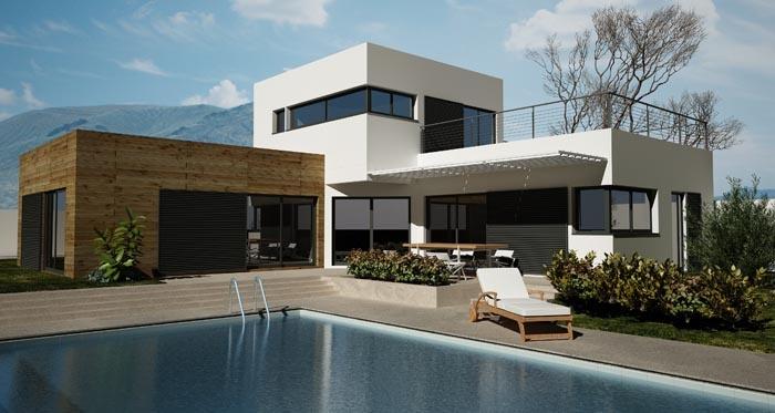 Extension maison en bois avec piscine extension bois for Construction piscine habitat labatut
