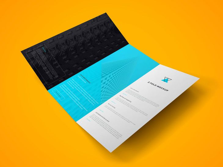 Beautiful layered mockup of a trifold brochure. PSD with smart layer, the…