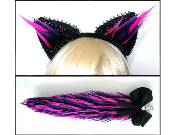 Pink Purple Black Cat Ears and Tail Set Cheshire Cat by VinylDolls
