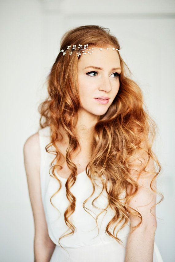Pearl Halo, Wedding Crown, Bridal Headband, Tiara, bridal pearl halo, bridal headpiece, Vine, Fairy Wedding via Etsy