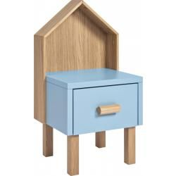 Milk Table de chevet pour enfant chêne naturel et gris-bleu (www.habitat.fr)