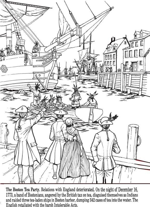 All Things John Adams Coloring Pages Boston Tea Party And Paul