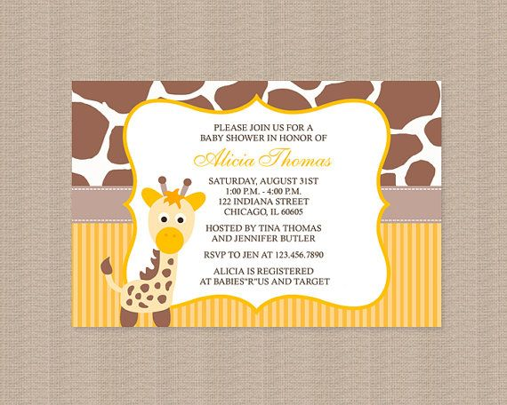 Giraffe Baby Shower Invitation Gender Neutral Baby By Honeyprint, $15.00