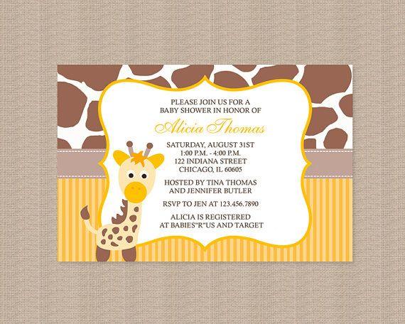 giraffe baby shower invitations in yellow by honeyprint on etsy 15