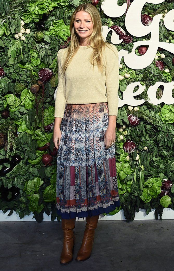 b6147fcd9d Gwyneth Paltrow in a yellow top and pattern midi pleated skirt