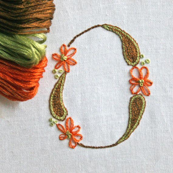 DIY pdf Crewel Embroidery Pattern Monogram O is by PrairieGarden, $5.00
