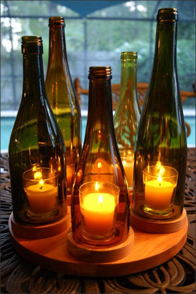Elegant Five Wine Bottle Candleholder, Table Centerpiece, Hurricane Candleholder, Repurposed Decor, Wine Bar Decor, Wine Lovers Gift, Grape. $100.00, via Etsy.