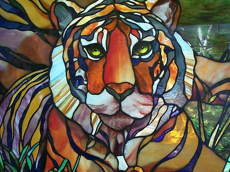 Stained-glass tiger