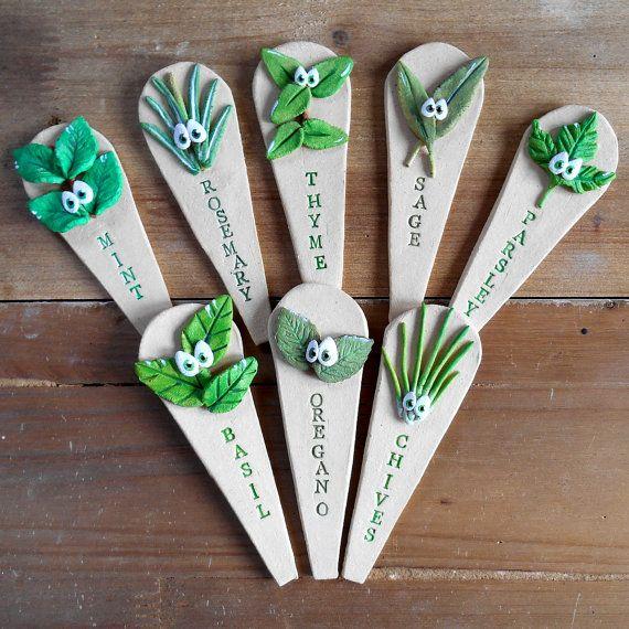 Garden Herb Marker Stakes in Ceramic by BlueFishStudiosShop