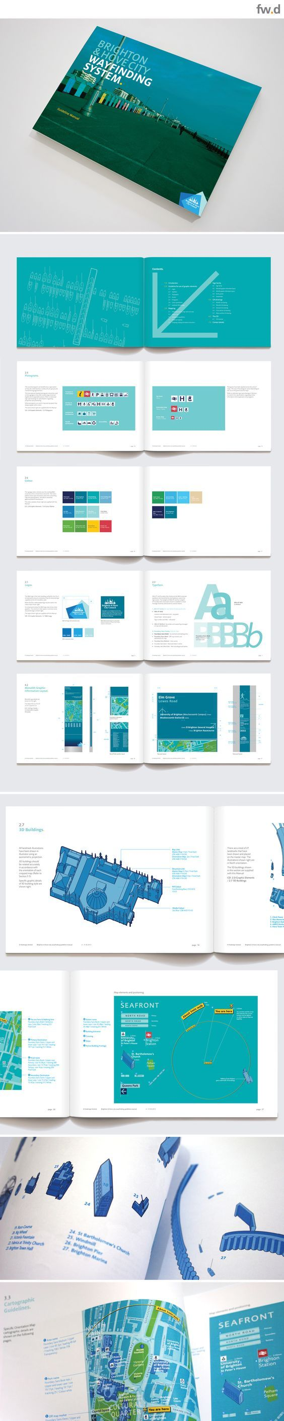Brighton pedestrian wayfinding & signage design Guidelines by fwdesign. www.fwdesign.com #guidelines #graphics #layout:
