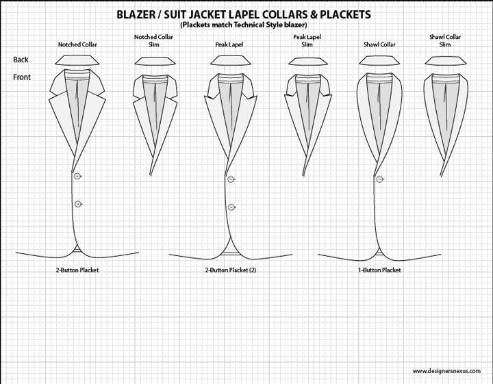 Mens Illustrator Flat Fashion Sketch Templates - Suit Jacket lapel collars - 1045+ mix & match Menswear design templates only $39.95! #menswear #mensfashion #flatsketches #fashionflats #fashionsketches #fashiontemplates #fashionCADs