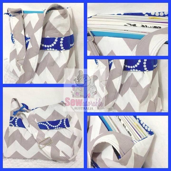 Blue grey chevron bag tote. Made by Sew Adorable Australia. www.facebook.com/sewadorableaustralia