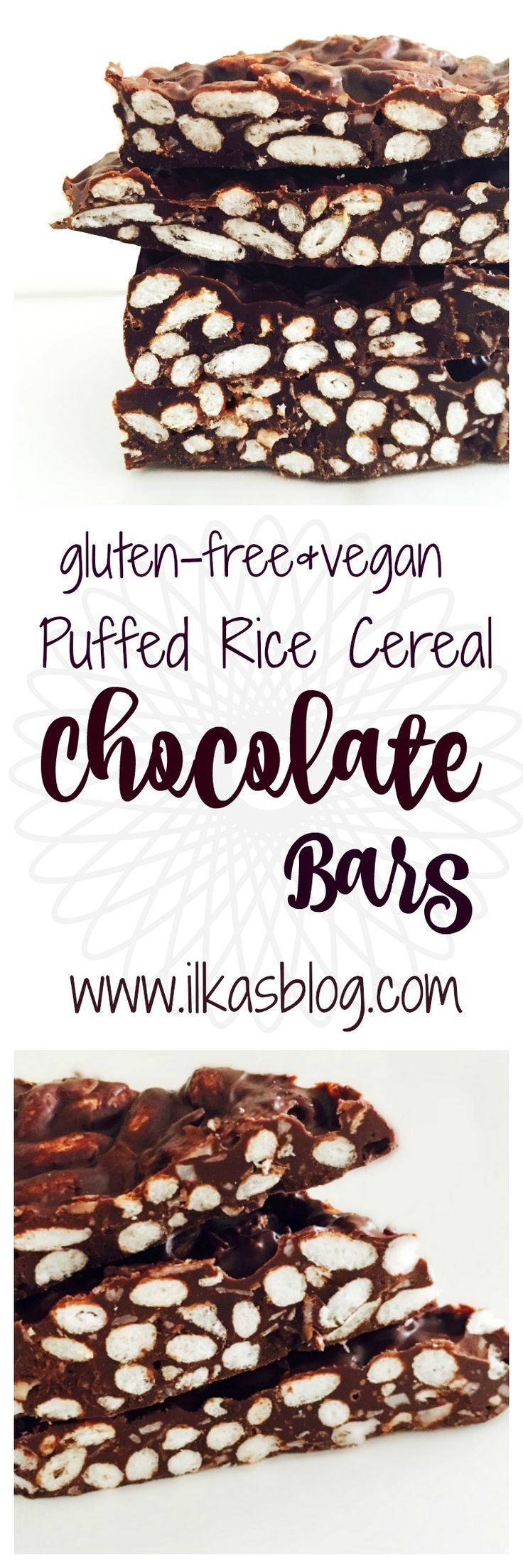 A delicious no-bake chocolate snack. Made with chocolate, coconut oil, puffed rice cereal and coconut flakes. Gluten-free and vegan.