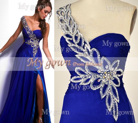 2014 Prom Dress One Shoulder Draped Beading Chiffon Floor Length Prom Dress,Evening Dress,Bridesmaid Dress,Formal Dress