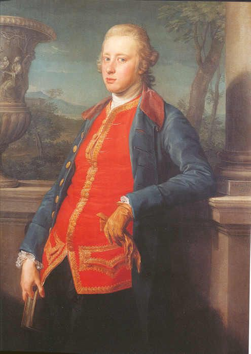 The Duke of Devonshire, painted in Rome by Pompeo Batoni, 1768 - William Cavendish, 5th Duke of Devonshire (1748 – 1811) was a British aristocrat & politician. He was the eldest son of William Cavendish, 4th Duke of Devonshire by his wife the heiress Lady Charlotte Boyle, suo jure Baroness Clifford, who brought in considerable money & estates to the Cavendish family. He was Lord High Treasurer of Ireland & Governor of Cork, and Lord Lieutenant of Derbyshire.