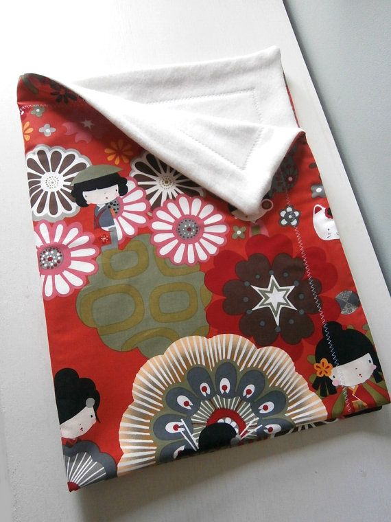 Japanese Kokeshi Doll Blanket for Baby / Toddler by carouselbelle, $30.00