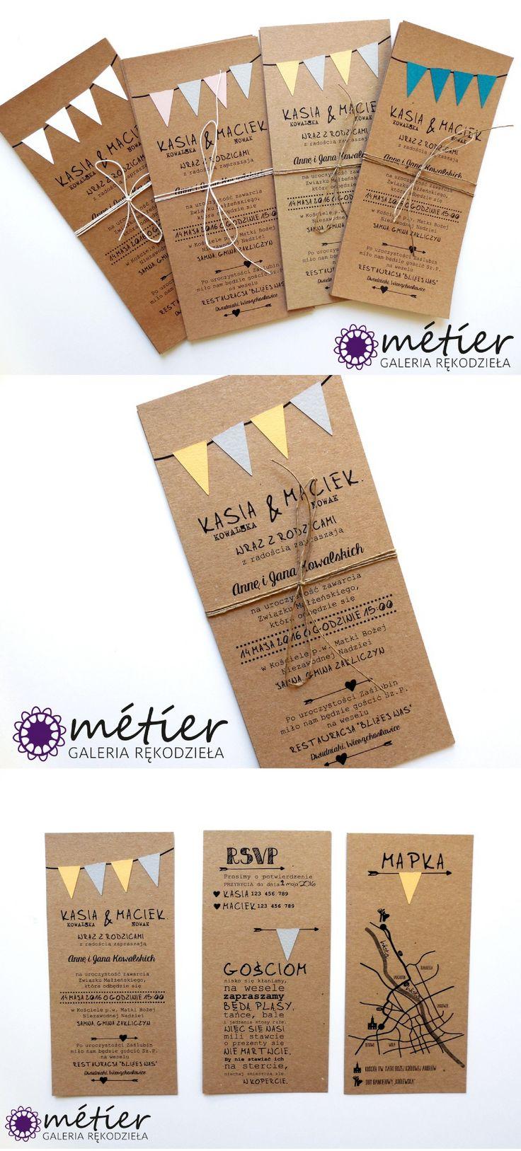 Zaproszenia ślubne z chorągiewkami www.metier.pl wedding nvitations #zaproszenia #zaproszeniaślubne #wedding #weddinginvitations #wesele