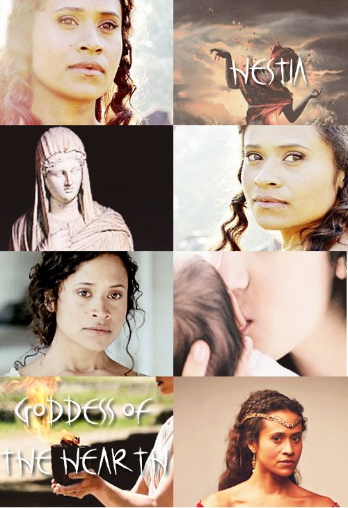 GREEK MYTHOLOGYMEME:6/?  ∟Angel Coulby asH E S T I A The Greek Goddess of the Hearth, Home, and Chastity. She is the daughter of Rhea and Cronos, and sister to Zeus. Her symbols are the hearth and kettle. In some accounts, she gave up her seat as one of the twelve Olympians in favor of Dionysus, and she plays little role in most Greek Myths.