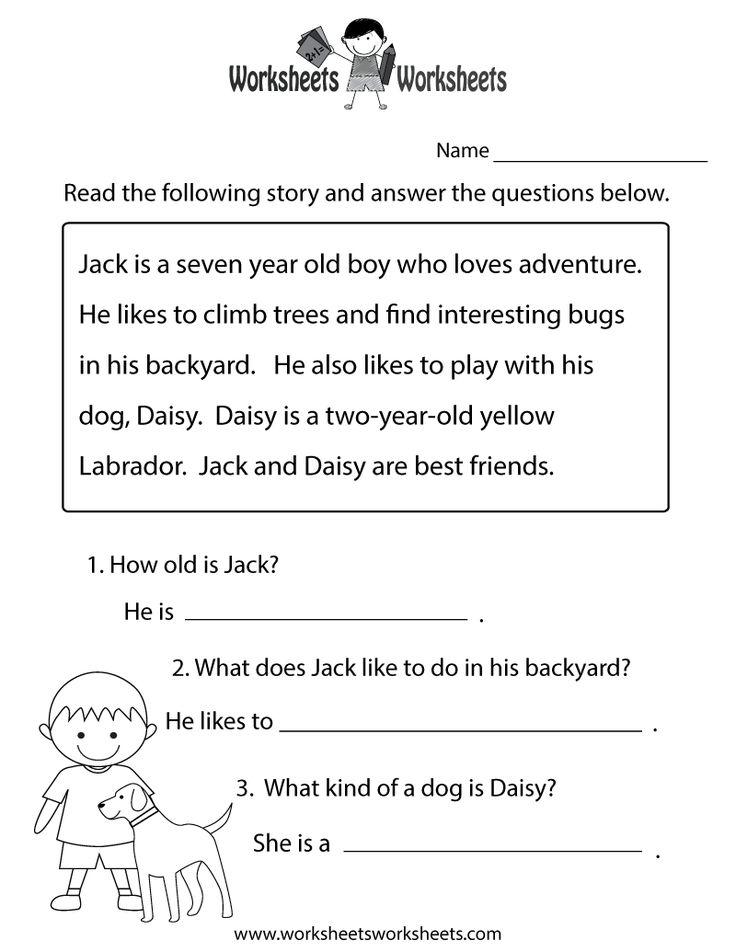 Reading Comprehension Practice Worksheet Printable