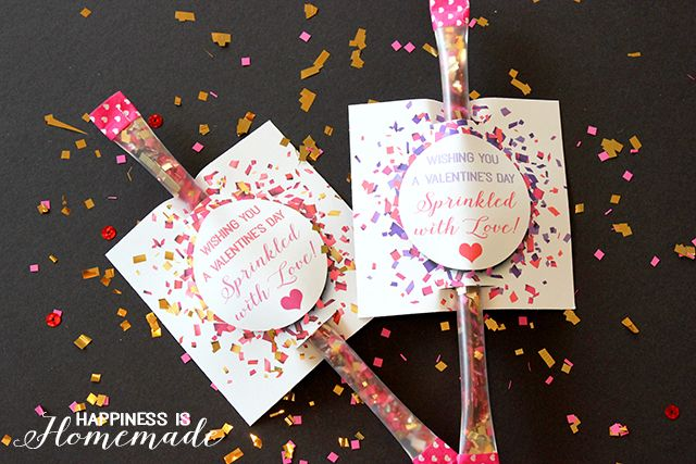 "Printable: ""Sprinkled with Love"" Confetti Valentine - Happiness is Homemade #TriplePFeature"