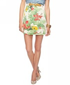 Love 21  - A floral and tulip print skirt featuring pintucked pleats at the hem. Banded waist is elasticized in the back. Woven. Lightweight. Lined.   *Belt not included.    DETAILS:  - 18' approx length from waist to hem, 27.5' waist  - Measured from Small  - Shell: 100% viscose; Lining: 100% polyester  - Hand wash, line dry  - Imported