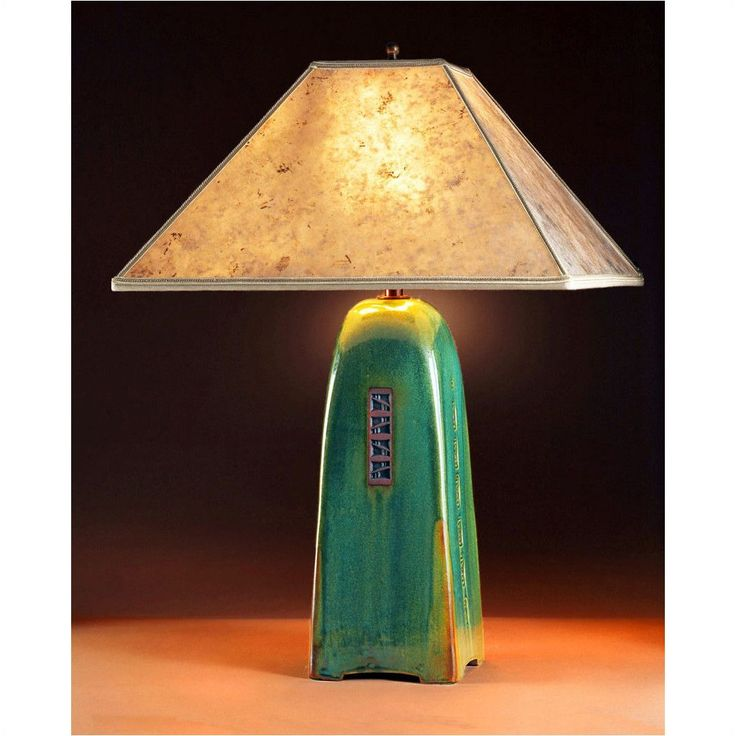 Jim webb four sided moss glaze table lamp north union collection with silver mica shade