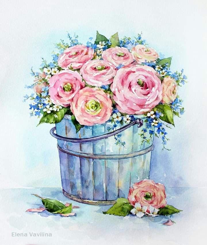 Открытки акварелью с цветами