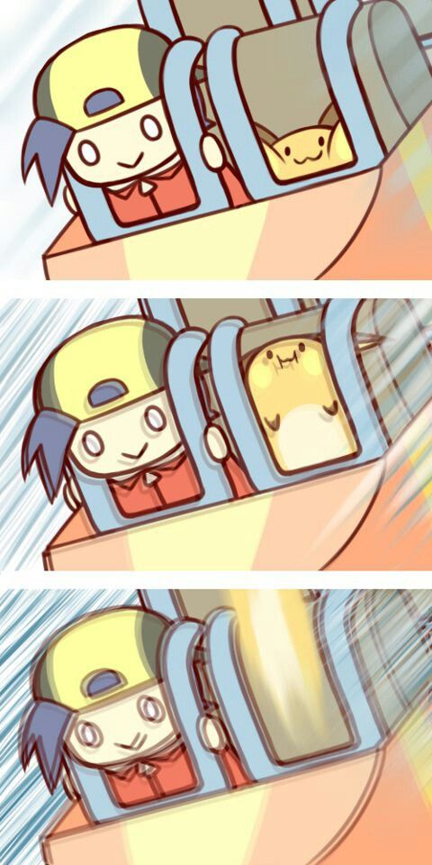 Lol....they should at least be a little scared or excited....raichu rollercoaster!!!!!!!!
