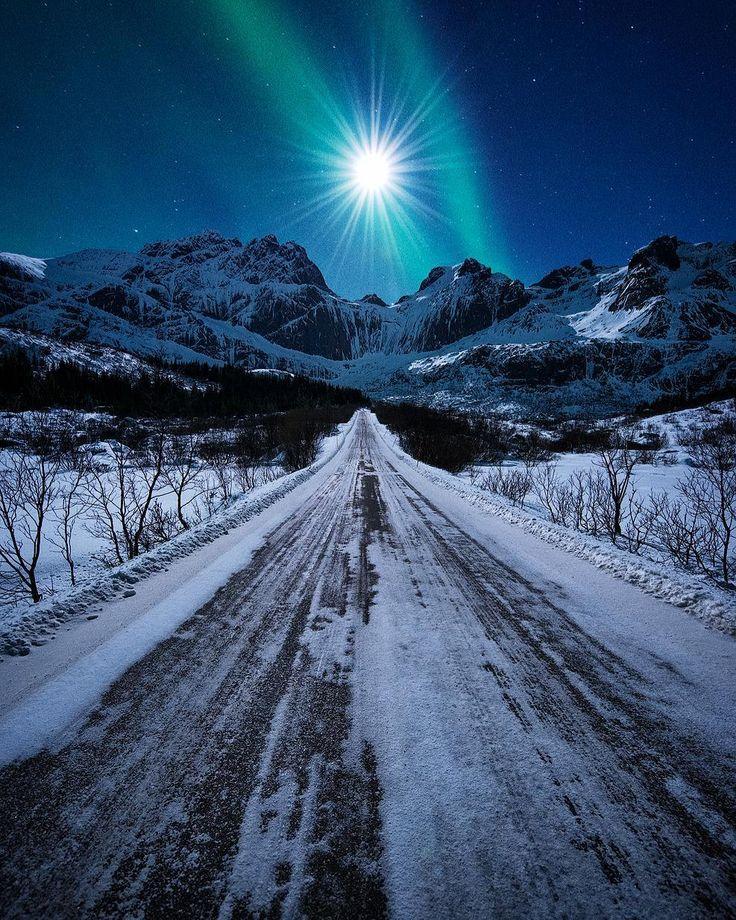 Moonlit winter road (Lofoten Islands, Norway) by Felix Inden Visuals (@felixinden) cr.c.❄️