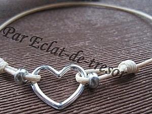 Bracelet Argent 925 Coeur noeud coulissant