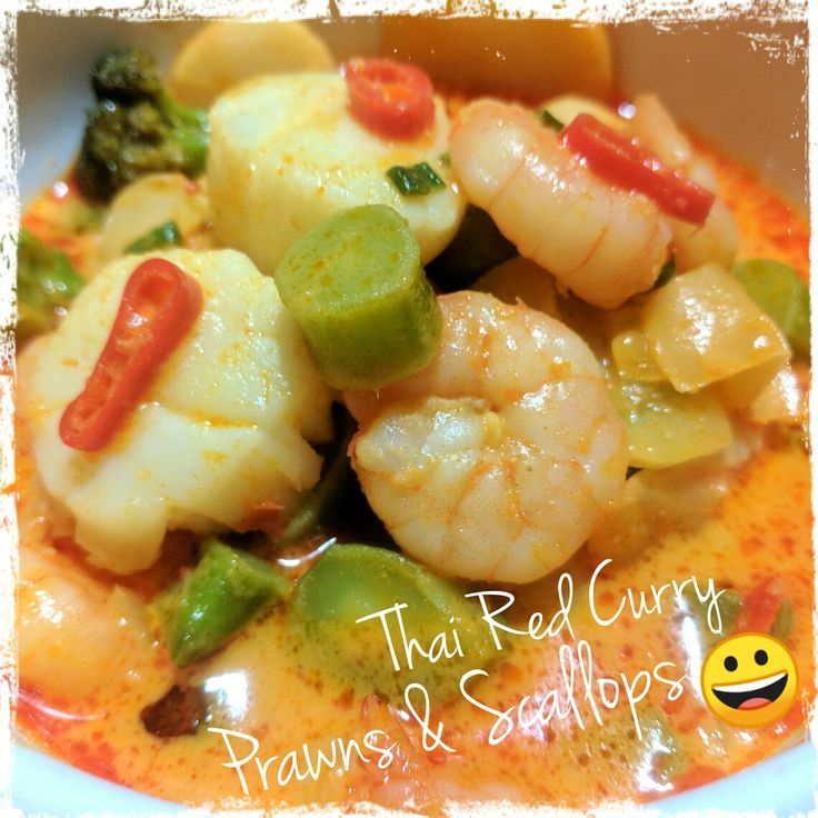 Yummo!  Thai Red Curry Prawns and Scallops...
