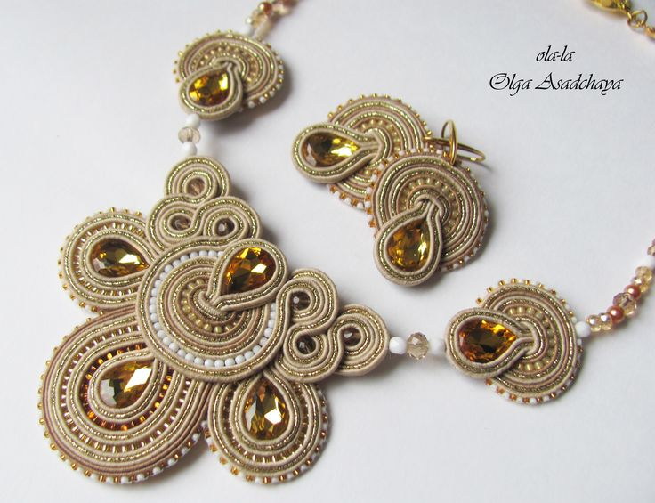 "necklace and earrings ""Golden Drop""  soutache, glass rhinestone jewelry, glass beads, Japanese and Czech seed beads"