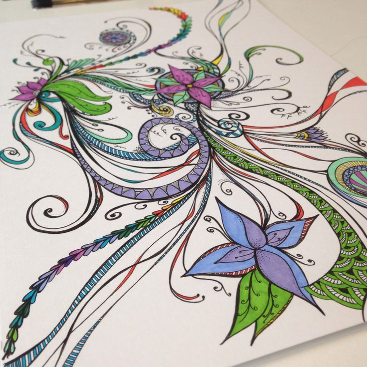 Flowers & swirls on Bristol Board, coloured with Ultra Fine Sharpies by Tracey Chorley, August 2014