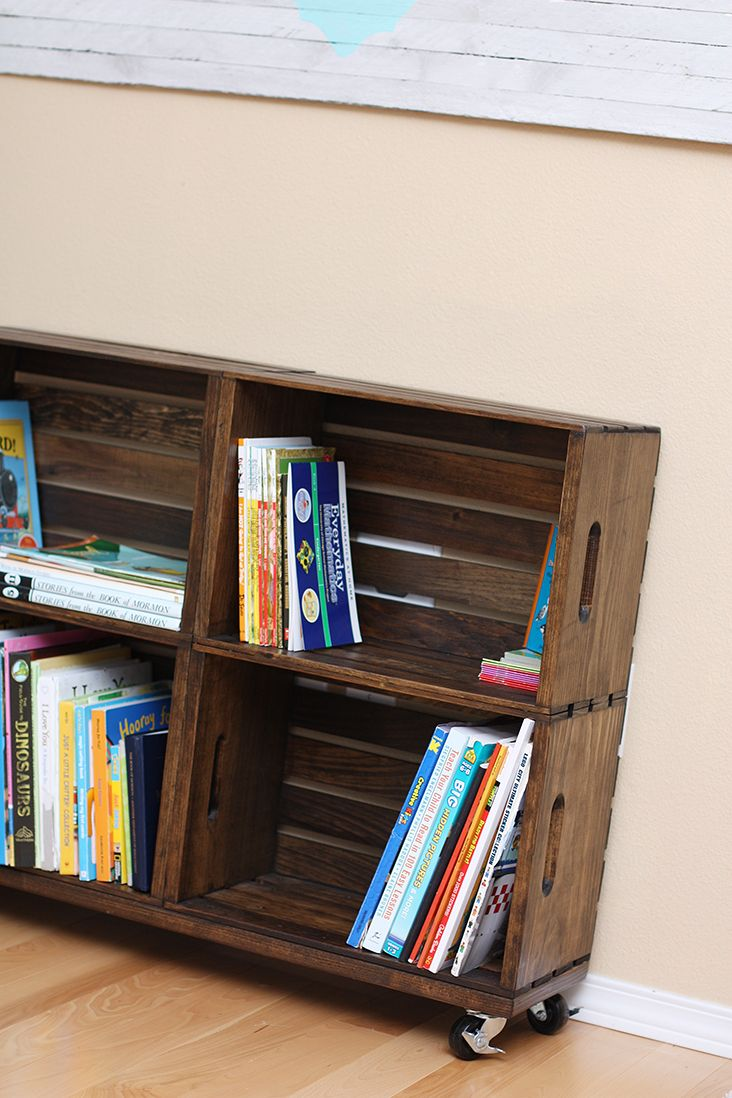 DIY wooden crate bookcase {sew much ado}