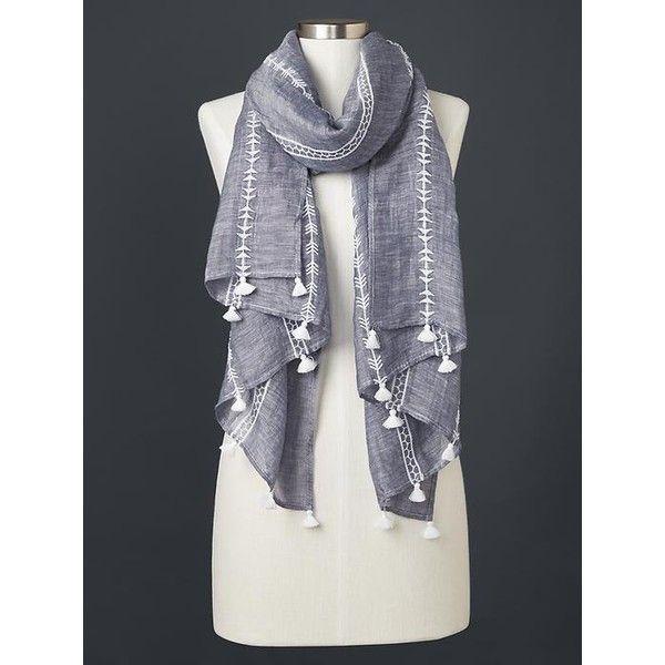 Gap Women Embroidered Tassel Scarf (120 BRL) via Polyvore featuring accessories, scarves, denim, regular, gap scarves, tassel scarves, embroidered shawl, embroidered scarves e short scarves