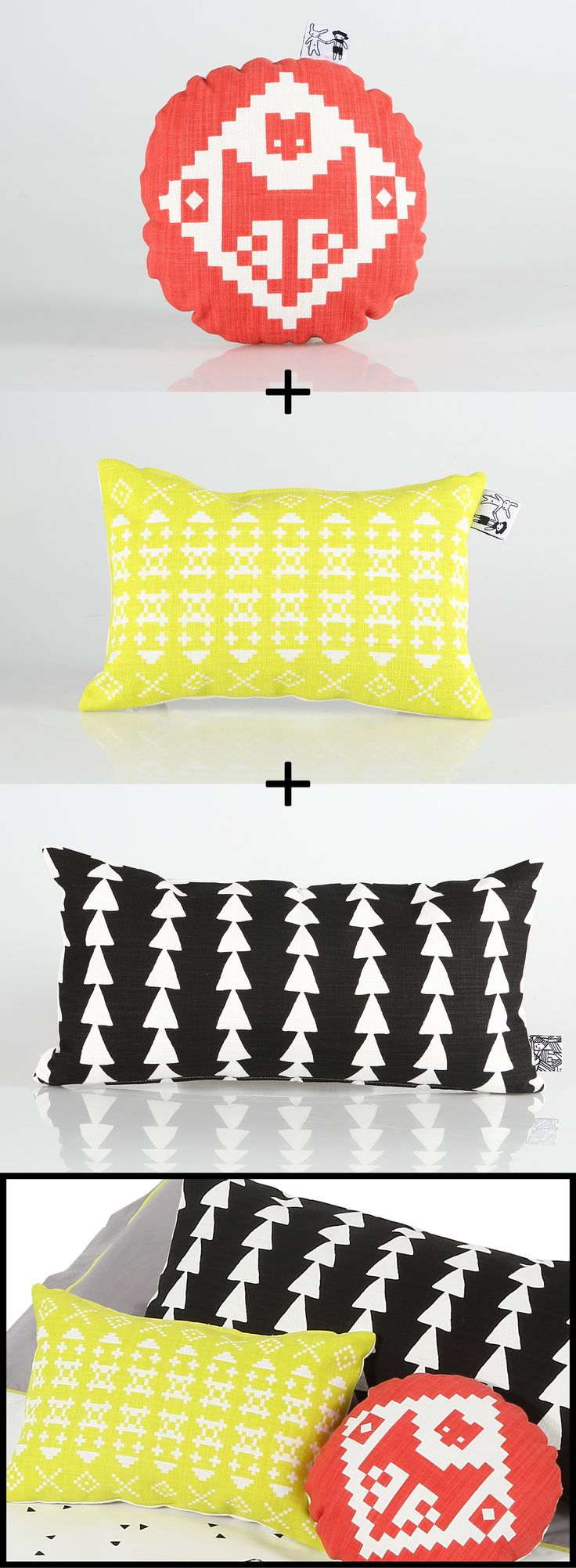 Super fun mini scatters! 100% cotton. This range goes perfectly with our Sleeping Fox bedding. Without inners/stuffing they're great little bags.  Email us at info@bunnyandclyde.co.za to order.