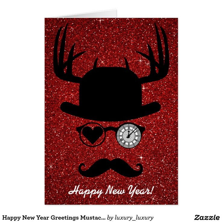 Happy New Year Greetings Mustache London Greeting Card