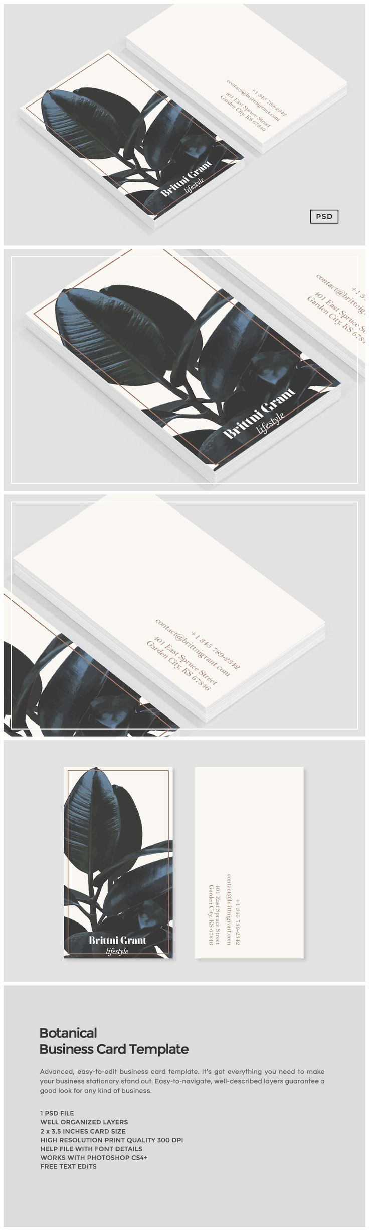 Botanical Business card Template: suitable for a variety of fields like cosmetics, jewelry, beauty, fancy restaurants, luxury and fashion industry, interior design, architecture, graphic design & personal branding. You will probably discover even more areas where you can these designs effortlessly. The 100% editable design is versatile and the possibilities are endless.
