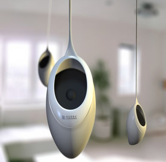 "hanging ""Sound Seed"" speaker Designed by Richard Hunt"