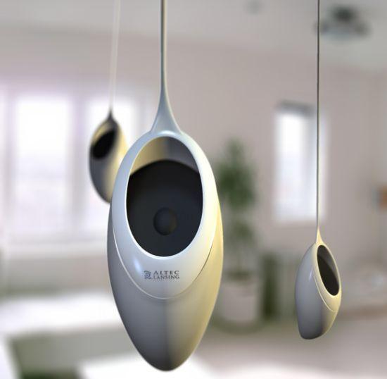"""hanging """"Sound Seed"""" speaker Designed by Richard Hunt"""
