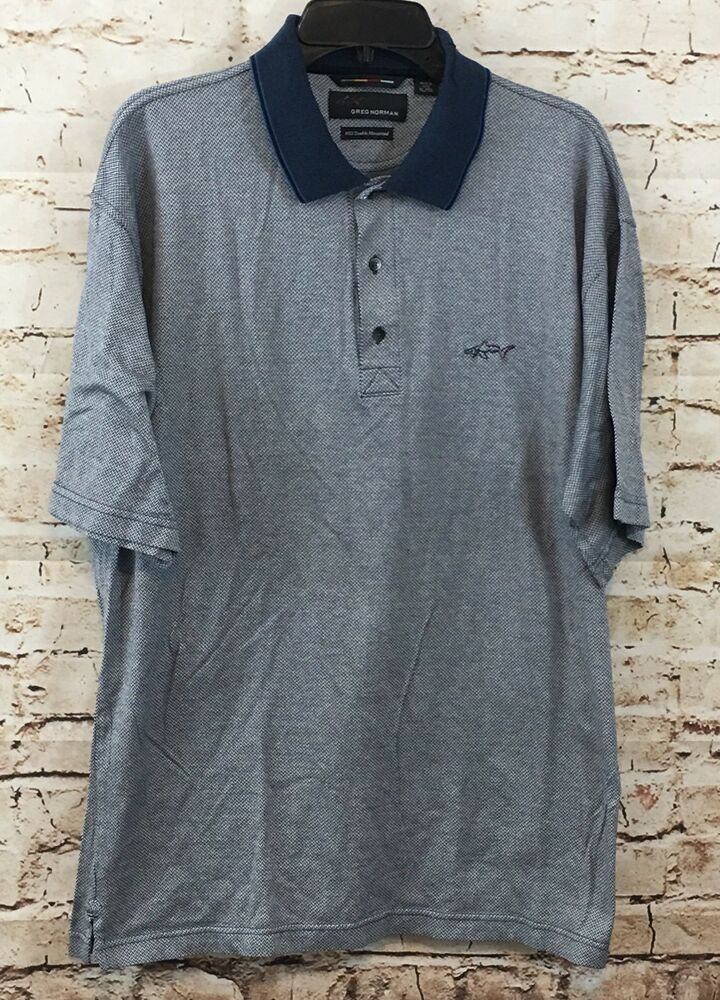 d182d701 Greg Norman golf shirt mens XL navy blue chevron shark contrast collar polo  N7 - Shark