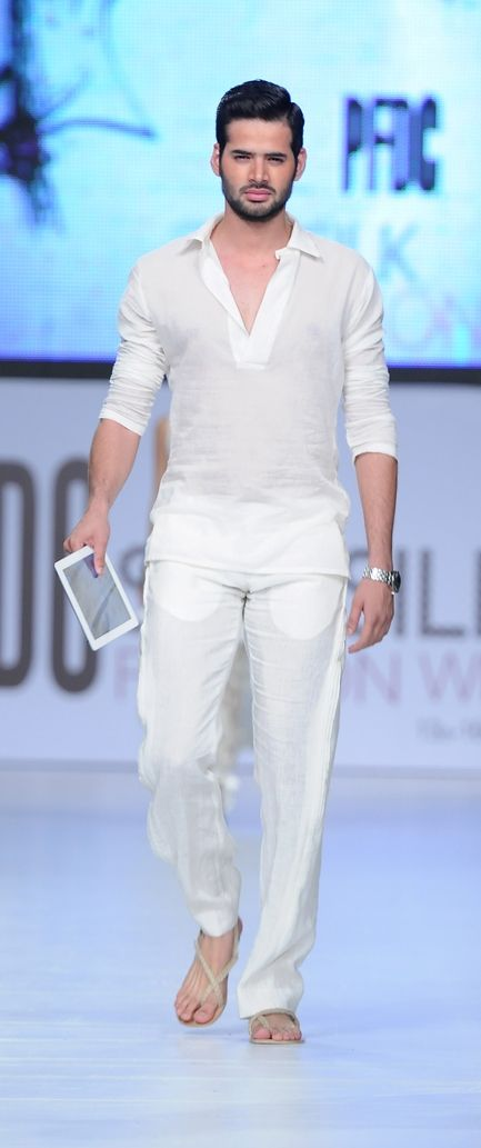 Nothing more stylish & timelessly elegant than a men's white trouser. Casual bone sandals.