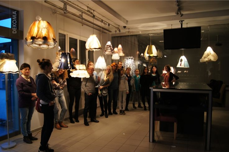 Creative workshops led by Tomasz Augustyniak which took place in the headquarters of Dekoma. Participants were creating lampshades from scratch. #lampshades #creative #design #Augustyniak #Dekoma